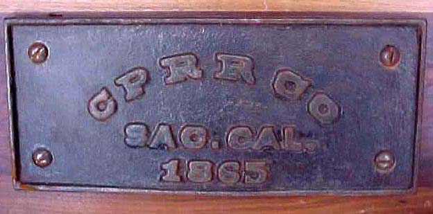 CPRR Baggage Car Plate, 1865.  Courtesy of the G. J. Graves Collection.