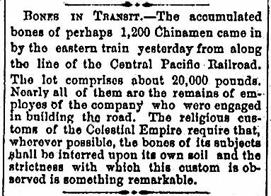 BONES  IN TRANSIT.  Sacramento Reporter, June 30, 1870.  Courtesy of Chris Graves.