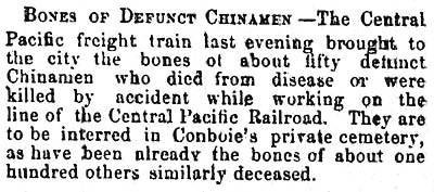 BONES OF DEFUNCT CHINAMEN.  Sacramento Union, June 30, 1870.  Courtesy of Wendell Huffman.