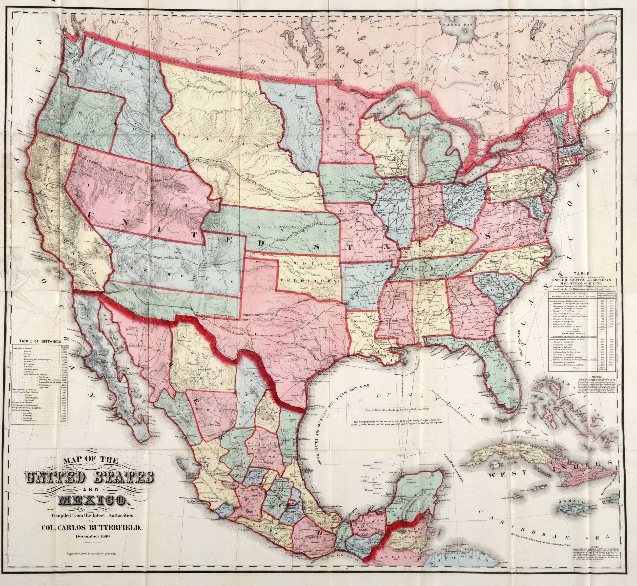 Carlos Butterfield, 'Map of the United States and Mexico,' 1860. Huntington Library, Art Collections, and Botanical Gardens.