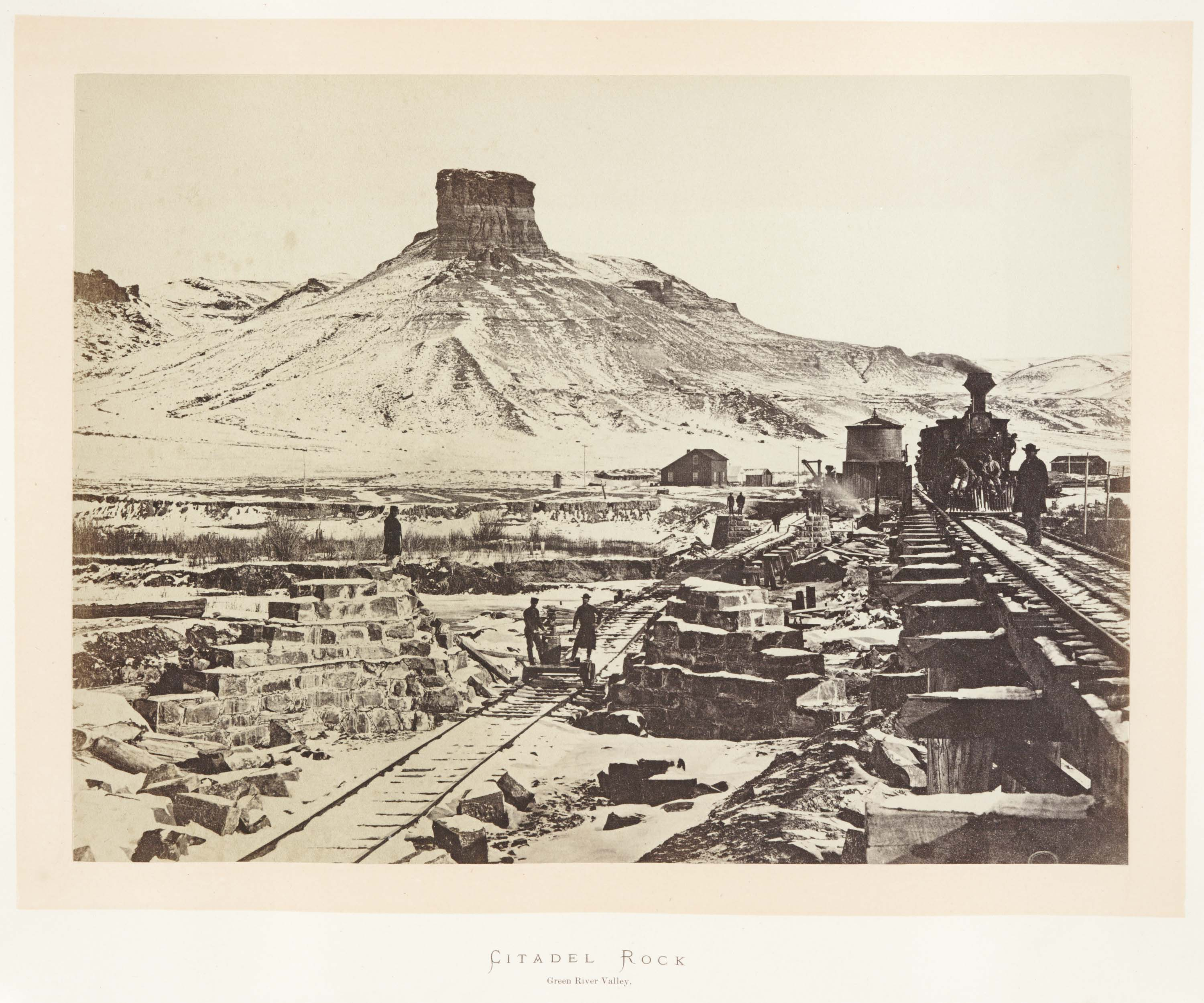Andrew J. Russell, 'Citadel Rock,' 1868, from Sun pictures of Rocky Mountain Scenery by F. V. Hayden. Huntington Library, Art Collections, and Botanical Gardens.
