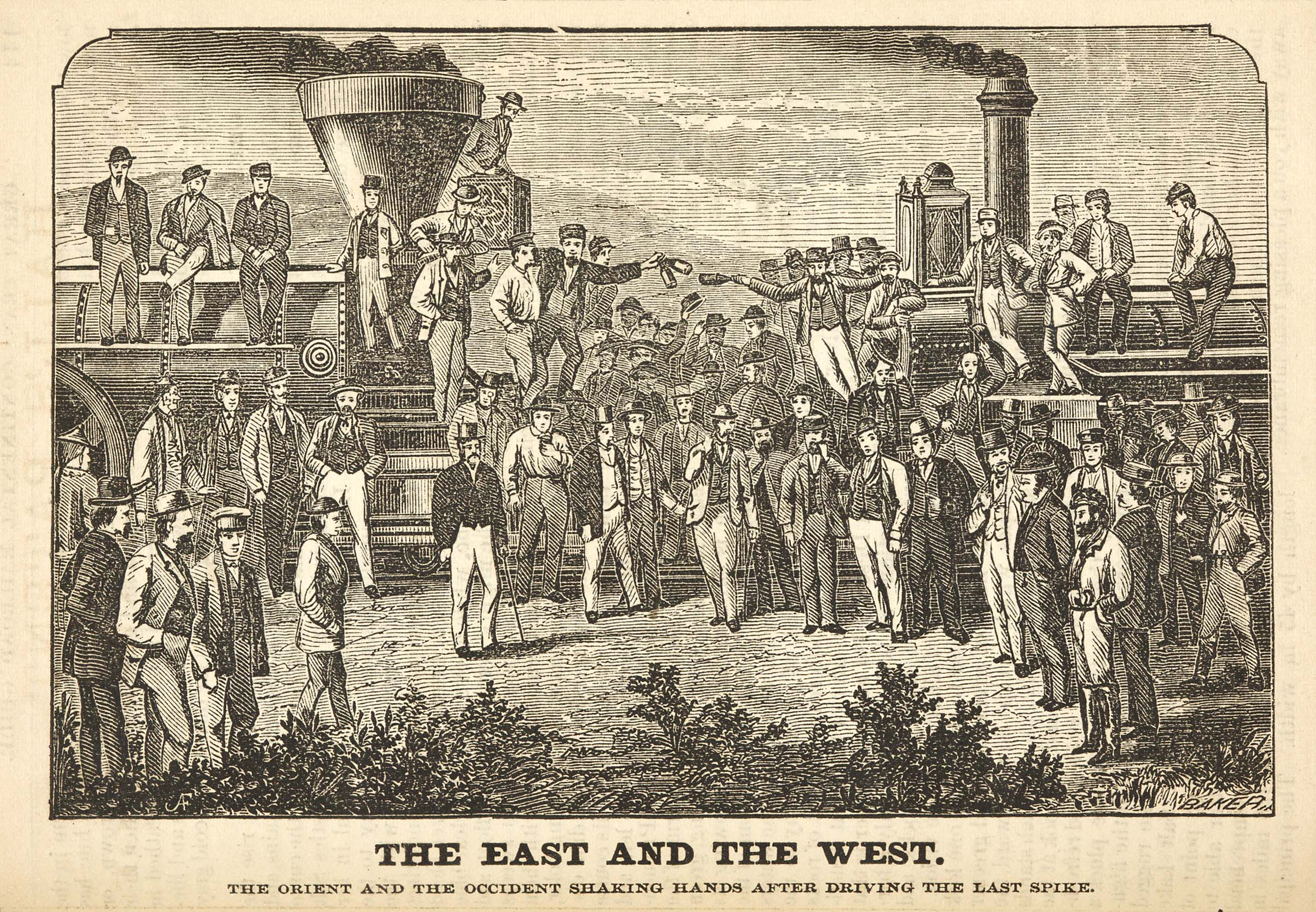 'The East and the West—The Last Spike,' from George Crofutt, 'Great Trans-Continental Tourist Guide' (New York, 1870). Huntington Library, Art Collections, and Botanical Gardens.