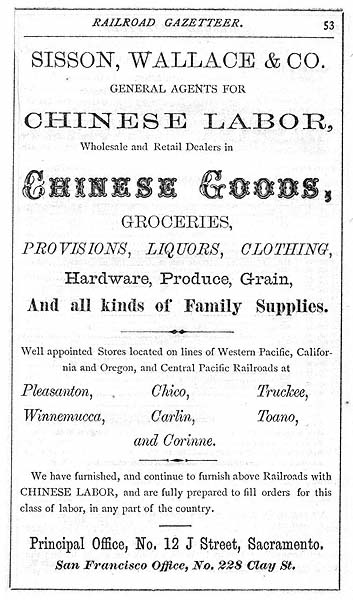 Advertisement in the Pacific Coast Railroad Gazetteer, 1870.