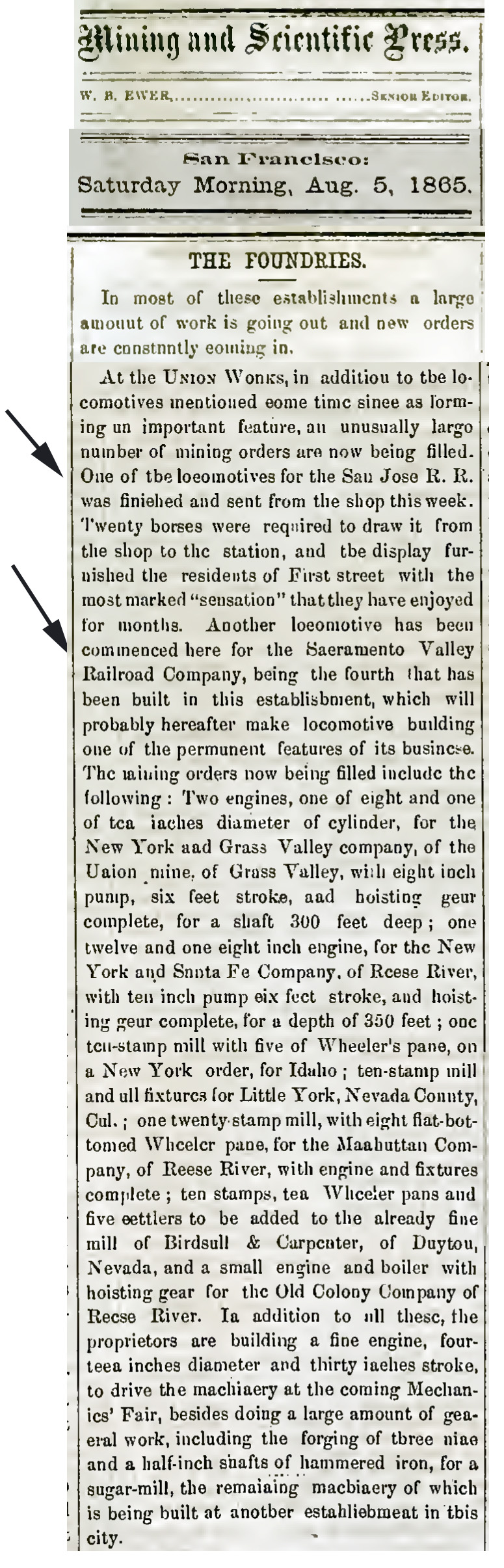 1865-08-05 Union Iron Works building locos for SF&SJ and Sac Valley - Mining & Scientific Press Aug 5, 1865, p 71.