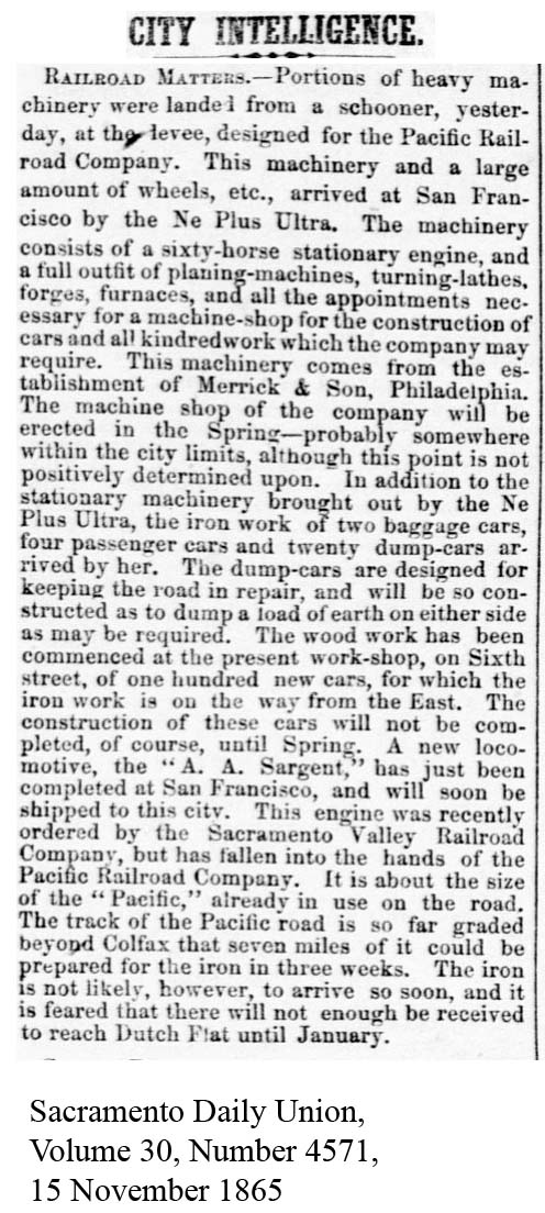 1865-11-15 CP loco AA Sargent - Sacramento Daily Union, Volume 30, Number 4571, 15 November 1865.
