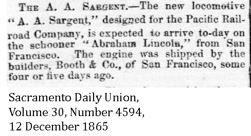 1865-12-12 CP 7 AA Sargent expected - Sacramento Daily Union, Volume 30, Number 4594, 12 December 1865.