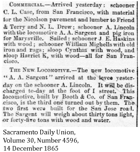 1865-12-14 CP 7 AA Sargent Arrived in Sacto - Sacramento Daily Union, Volume 30, Number 4596, 14 December 1865.