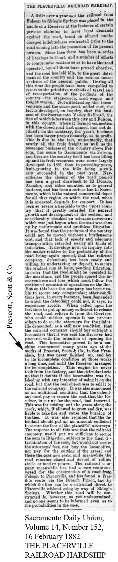 1882-02-16 Sacramento Union, Vol 14, No 152, 16 Feb 1882 - THE PLACERVILLE RAILROAD HARDSHIP.