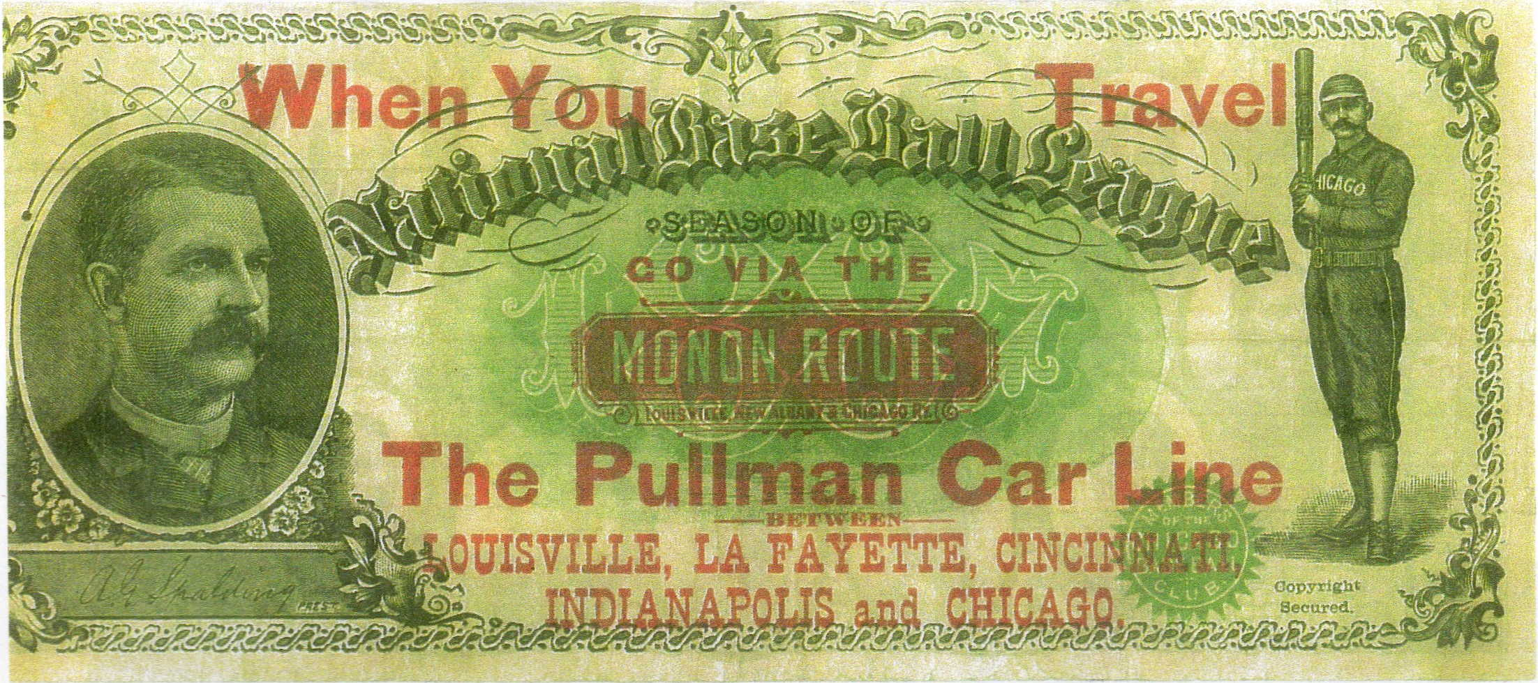 Baseball 1887 Pullman car certificate