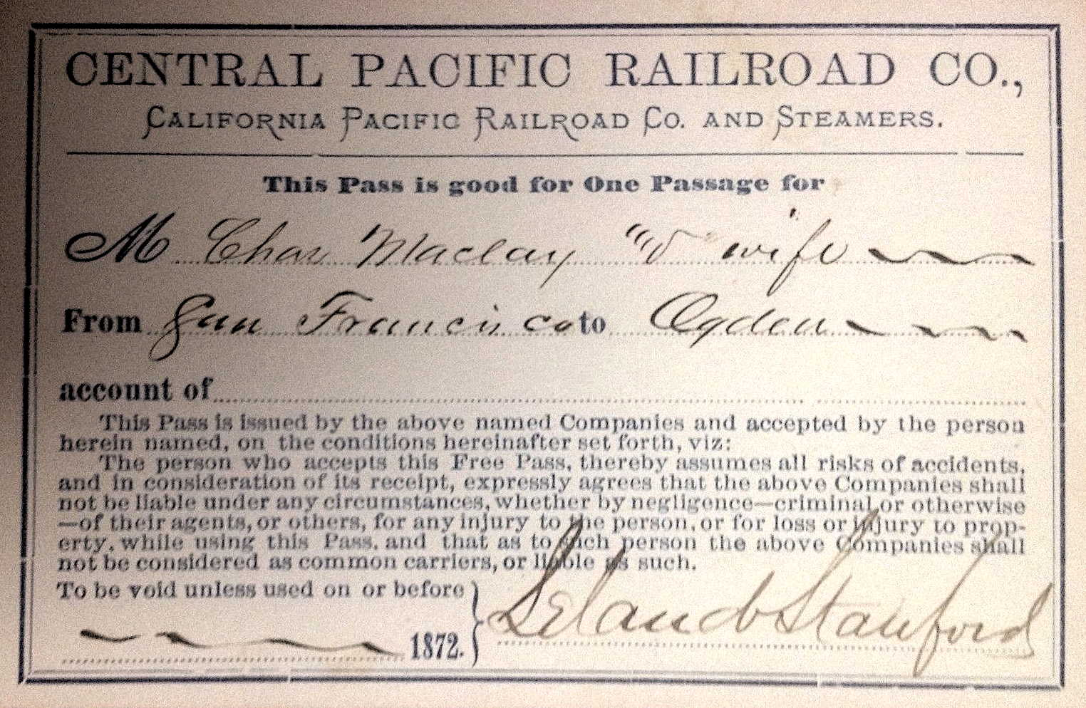Central Pacific Railroad Pass, 1872