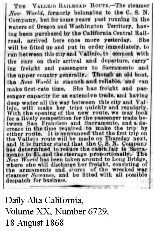 Oregon Steam Navigation, being rebuilt for Vallejo route - Sacramento Daily Union, Volume 35, Number 5427, 18 August 1868.