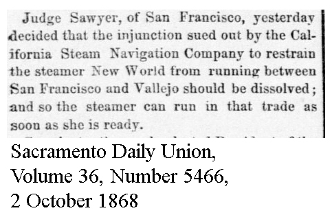 Navigation injunction against New world operation overturned - Sacramento Daily Union, Volume 36, Number 5466, 2 October 1868.