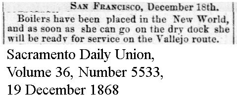 New boilers in New World - Sacramento Daily Union, Volume 36, Number 5533, 19 December 1868.
