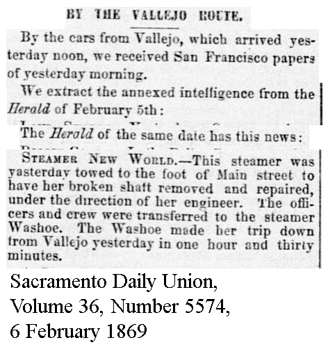 New World broke shaft; Washoe substitute - Sacramento Daily Union, Volume 36, Number 5574, 6 February 1869.