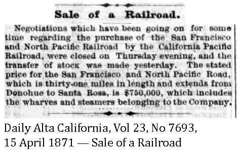 Daily Alta California, Vol 23, Number 7693, 15 April 1871 - Sale of a Railroad.