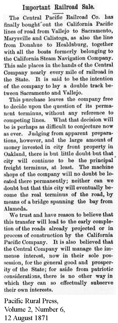 CenPac purchased CalP, inc Calif Steam Nav and SF&NP - Pacific Rural Press, Volume 2, Number 6, 12 August 1871.