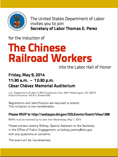 Induction of the Chinese Railroad Workers into the Labor Hall of Honor
