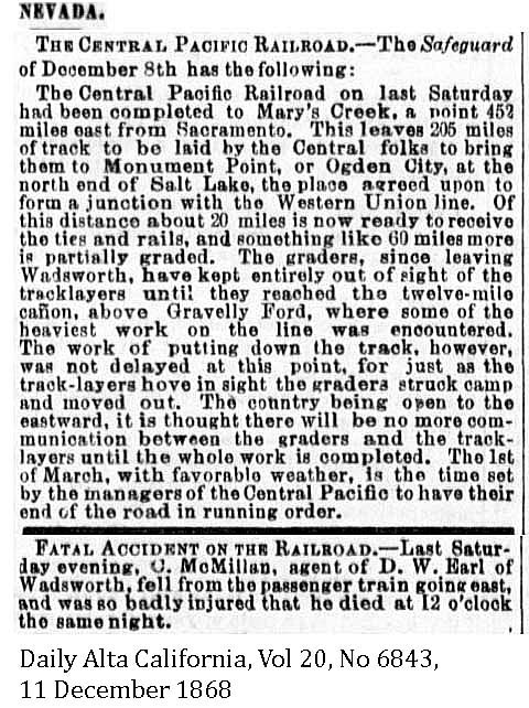1868 Central Pacific to Mary's Creek and Gravelly Ford - Daily Alta California, Volume 20, Number 6843, 11 December 1868