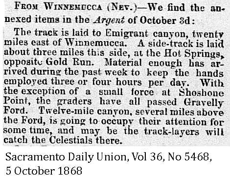 1868 Gravelly Ford - Chinese Graders, White Track Layers - Sacramento Daily Union, Volume 36, Number 5468, 5 October 1868