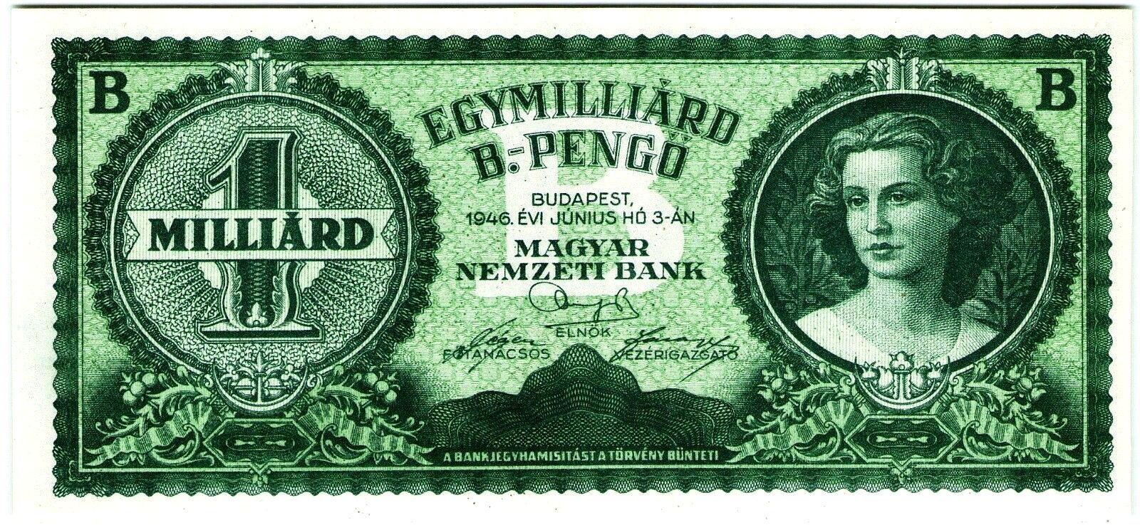 Hungary 1946 hyperinflation, 1 Milliard B-Pengő