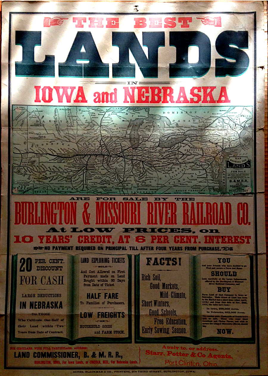 Lands for sale in Iowa and Nebraska for the Burlington & Missouri River Railroad Co.