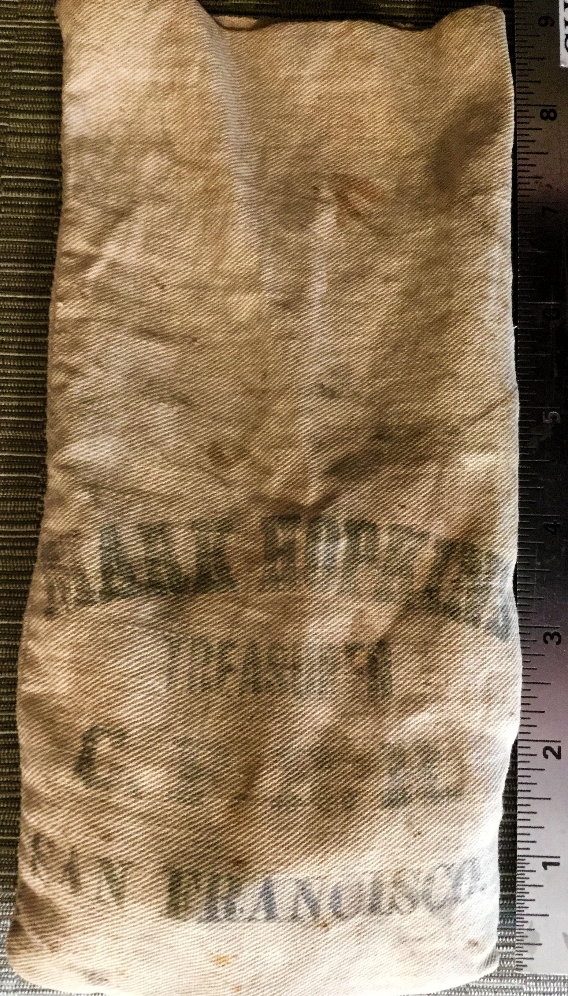 cloth money bag - Old linen bag from C.P.R.R. - 'Mark Hopkins, Treasurer, C.P.R.R., San Francisco.'