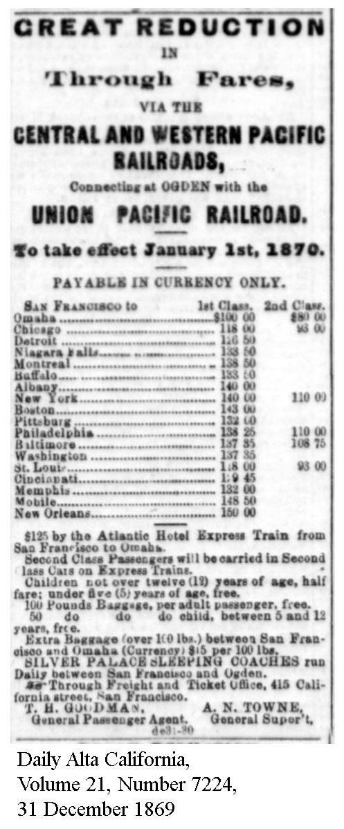 Central Pacific fares via Ogden, effective Jan 1, 1870 - Daily Alta California, Volume 21, Number 7224, 31 December 1869