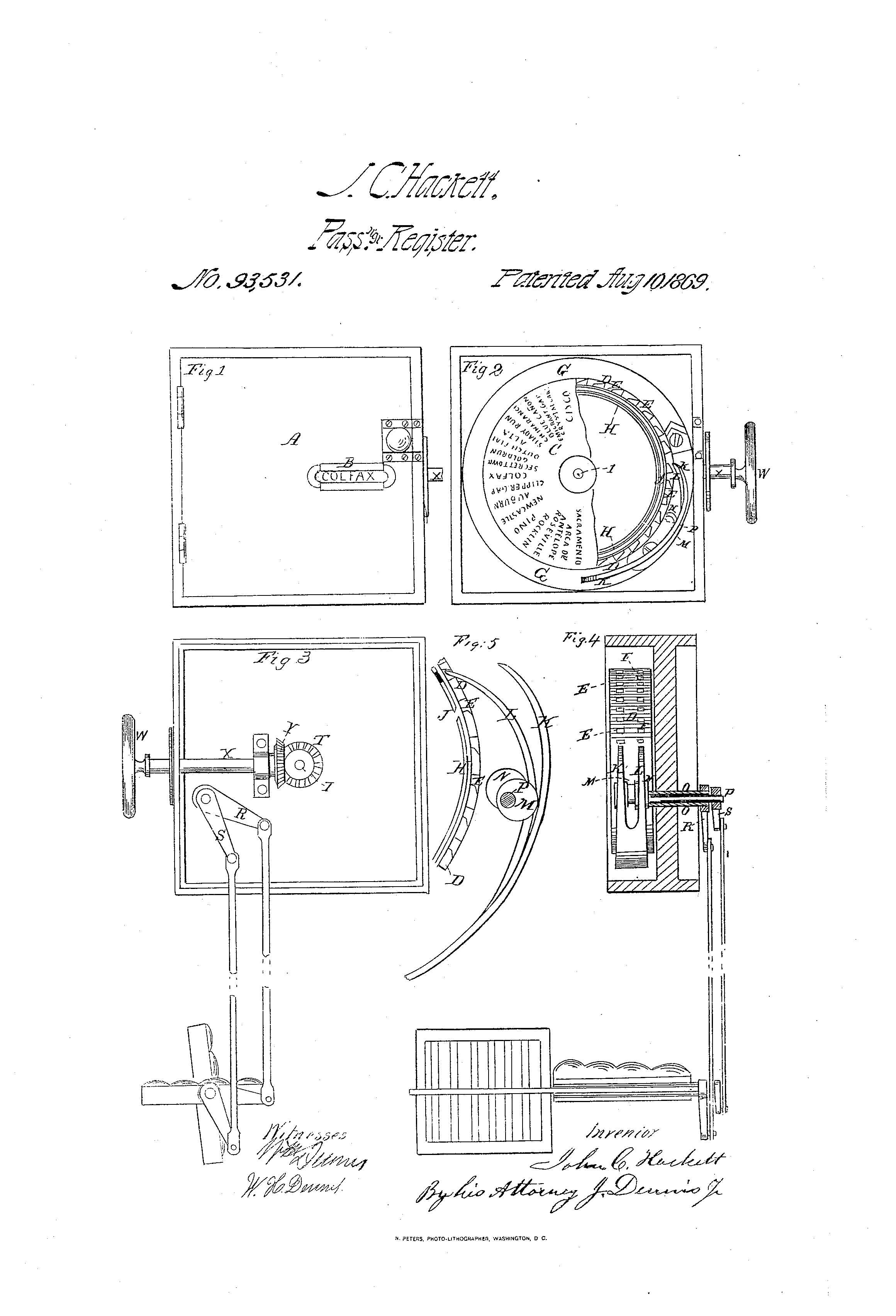 Pass & register, U.S. Patent #93531, August 10, 1869