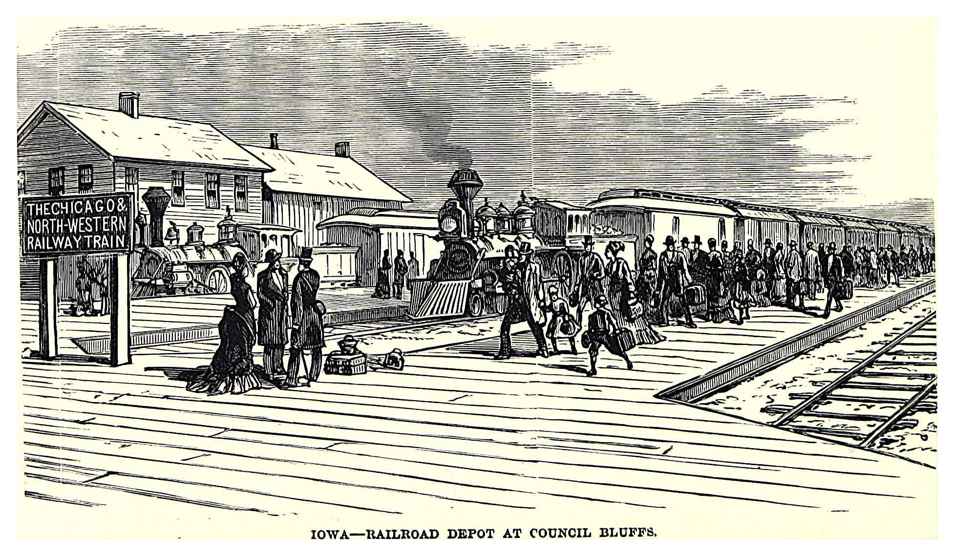 Railroad Depot at Council Bluffs, Iowa, 1882