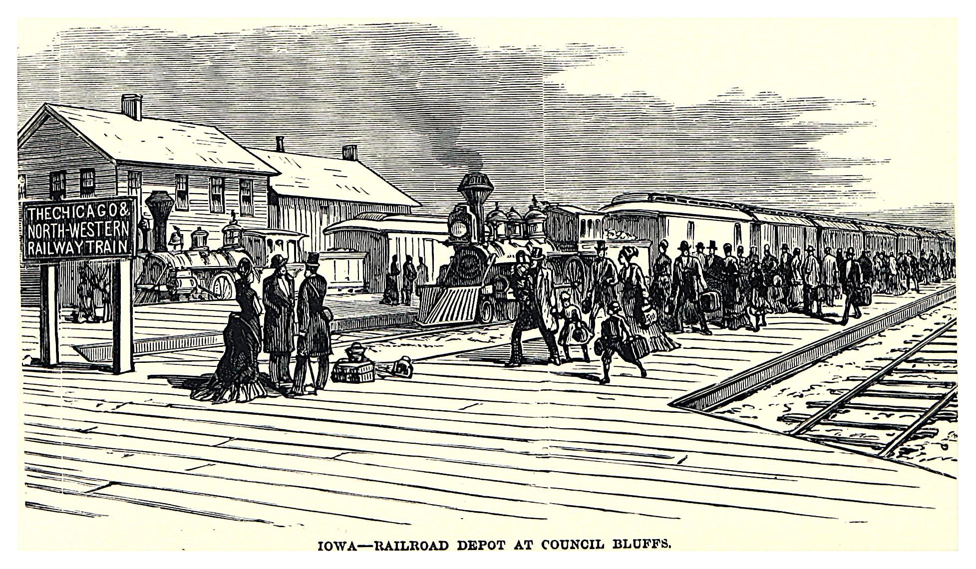 Railroad Depot at Council Bluffs, Iowa, 1882