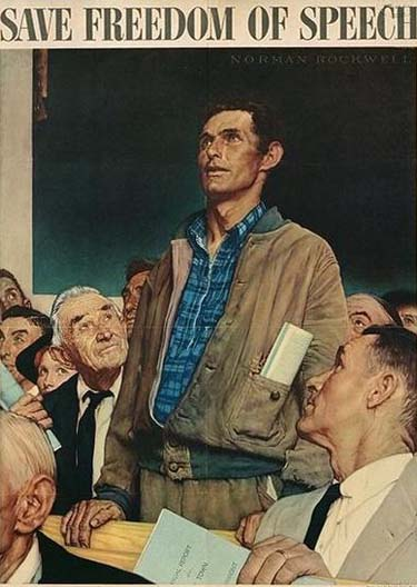 'Save Freedom of Speech' Norman Rockwell; from a World War II Bond poster