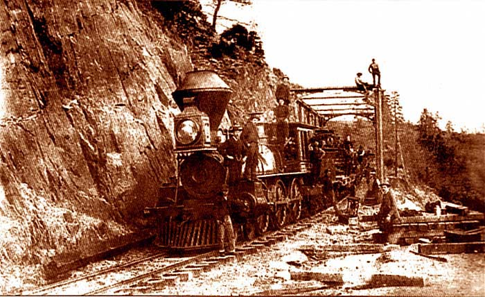 Locomotive at Cape Horn, 1886. Courtesy Placer County Department of Museums, Carmel Barry-Schweyer and Alycia S. Alvarez.