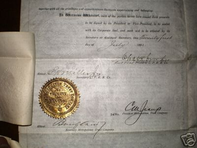 CPRR Land Deed, 1891. Courtesy of Gary Brucato,  Jr.