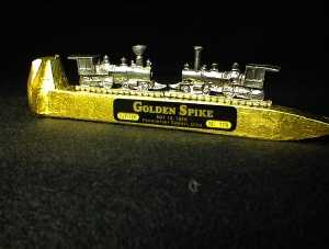 Golden spike gift with the two trains meeting by Rick Lee Creations.