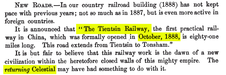 Tien-Tsin Railway of China, opened 1888 to Tonsham