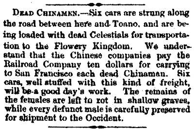 DEAD CHINAMEN.  Elko Independent, January 5, 1870.  Courtesy of Wendell Huffman.