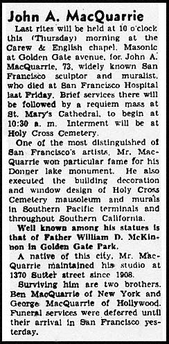 John McQuarrie, Obituary, San Francisco Chronicle, 11/30/1944. Courtesy of the G.J. 'Chris' Graves Collection.