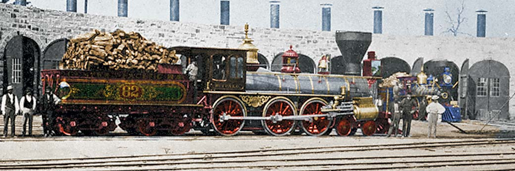 Colorized view of the Rogers-built Buffalo No. 82 at Rocklin Roundhouse in 1870. Courtesy of Jim Wilke.