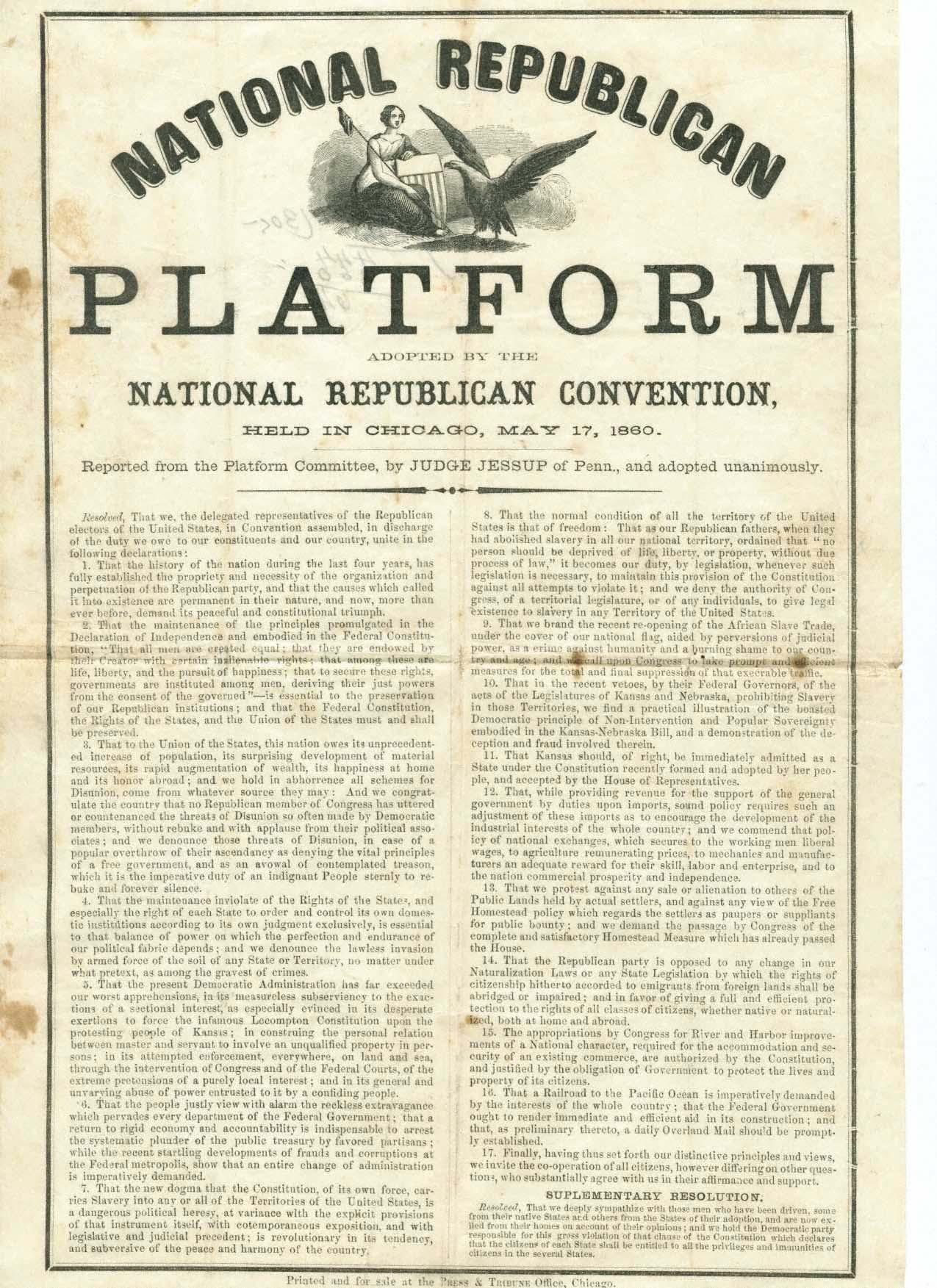 Republican National Platform, 1860