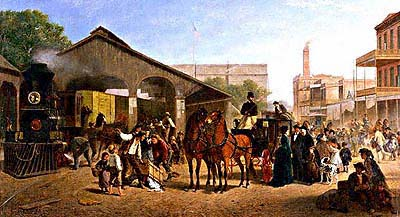 """Sacramento Railroad Station"" 1874 painting by William Hahn. Courtesy UC Berkeley, Digital Library Project."
