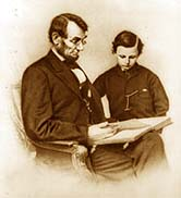 Abraham Lincoln reading to his son Tad. J. Carbutt CDV.